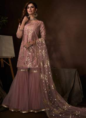 Awesome Blush Pink Ethnic Festive Wear Soft Net Base Sharara Suit