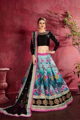 BLACK MULTI COLOUR DIGITAL PRINTED & EMBROIDERED