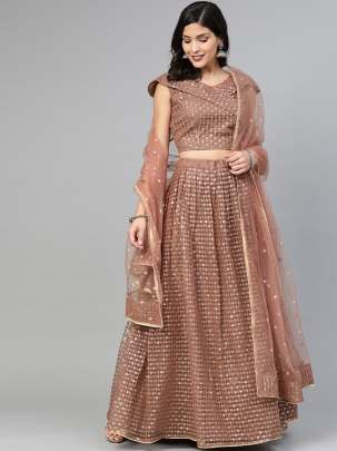 Beautiful Brown Colour  With Embroidery Lehenga