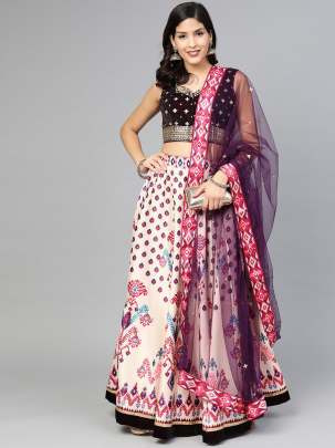 Beautiful  Burgundy  Colour Printed Sequence Work  Lehenga  Choli