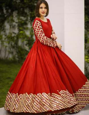 Beautyful Red Color Designer Georgette With Embroidery Anarkali Style Gown Suit