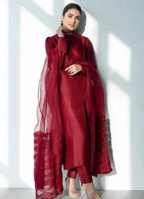 Beautyful Ruby Red Silk Base Casual Wear Designer Pant Style Suit