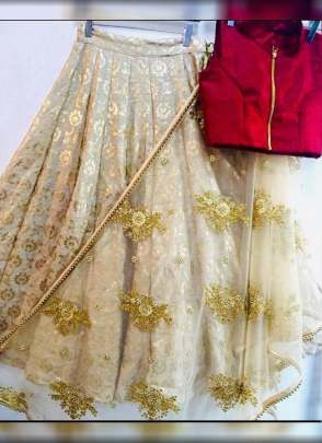 Beige Color Party Wear Designer Foil Work