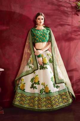 CREAM GREEN HEAVY BANGLORY SILK FLORAL PRINTED