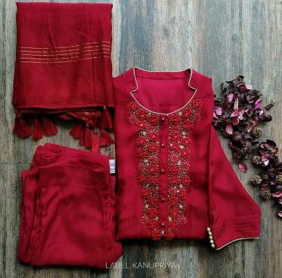 Cherry Red Cotton Silk Pant Style Suit With Zari Work