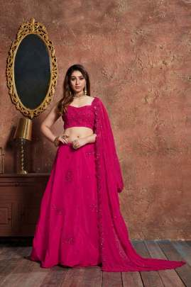 DEEP PINK GEORGETTE HEAVY WORK