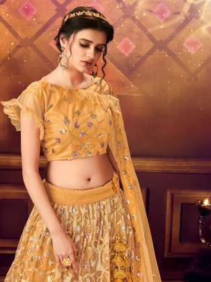 Delightful Dark Yellow Colour Soft Net Base Wedding Lehenga