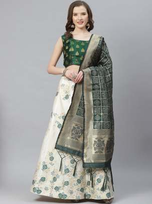 Delightful Cream Colour Banarasi Lehenga