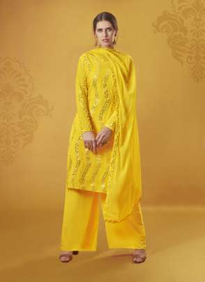 Fancy pakistani collection yellow faux georgette with latest foil mirror work