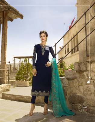 Floral Work navy blue color Pakistani Straight
