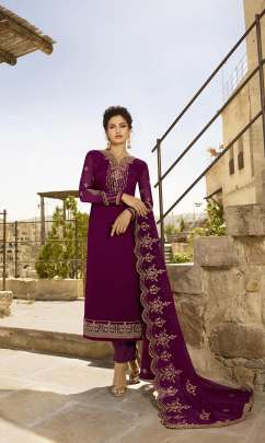 Floral Work purple color Pakistani Straight