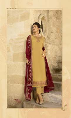 Floral Work yellow color Pakistani Straight