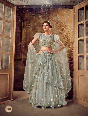 Gray Colour  soft net base Foli mirror lehenga choli Set