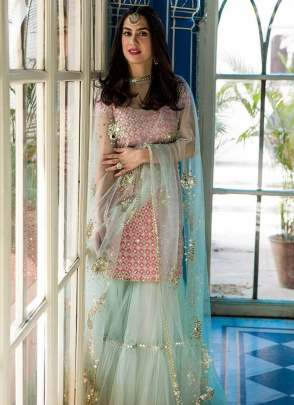 Impressive Party Wear Pink Color Raw Silk Base Designer Sharara Suit