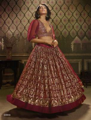 Maroon Colour Sequined Semi-Stitched Lehenga & Unstitched Blouse with Dupatta