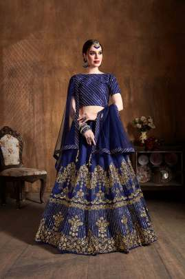 NAVY BLUE ART SILK DIAMOND & SEQUINS EMBROIDERY