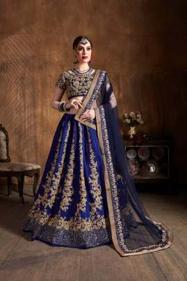 NAVY BLUE RAW SILK SEQUINS EMBROIDERY