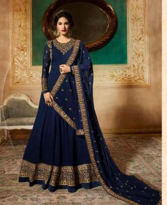 Navy Blue Georgette  Party wear suits