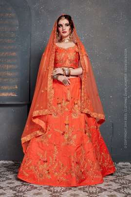 ORANGE SLUB SILK TRADITIONAL EMBROIDERED