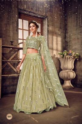 Sea green & Silver Embellished Semi-Stitched Lehenga & Unstitched Blouse