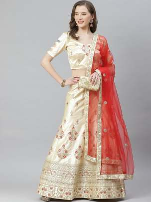 Women Beige Colour Embroidery Work  Lehenga Choli With Duptta
