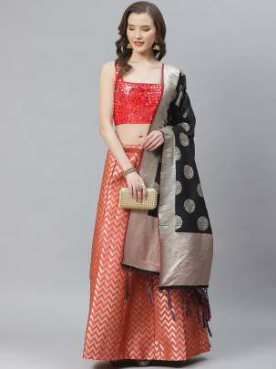 Women Coral Colour Woven Work  Lehenga Choli With Duptta