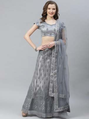 Women Embellished  Grey Colour   Embroidery Lehenga Choli