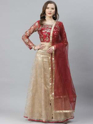 Women Embellished  Grey Colour Zari  Lehenga Choli