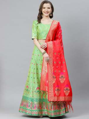 Women Green Colour Woven Work  Lehenga Choli