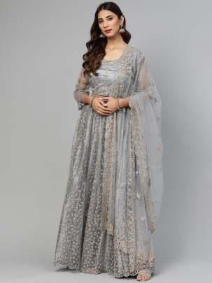 Women Grey Colour Embellished Work  Lehenga Choli With Duptta