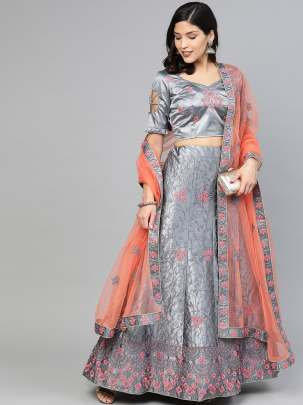 Women Grey Colour Embroidery Work  Lehenga Choli With Duptta