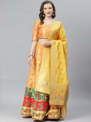 Women Yellow Colour Woven Work  Lehenga Choli