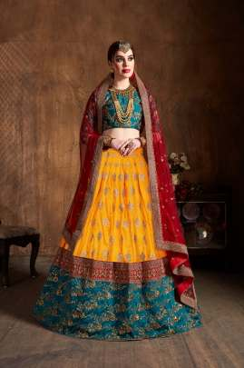 YELLOW BANARASI SILK TRADITIONAL EMBROIDERED