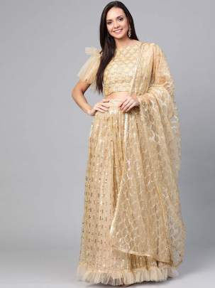For woman Beige Zari Semi-Stitched Lehenga & Unstitched Blouse with Dupatta