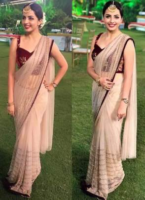 Energetic Beige Color Designer Party Wear Fancy Thread Work
