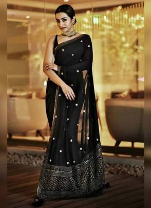 Classy Black Georgette Saree With Embroidery Work