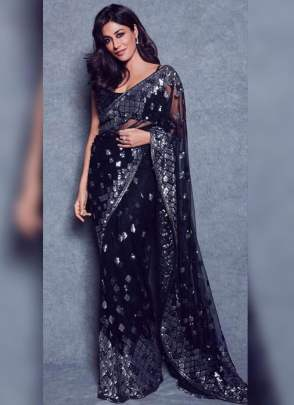 Gleaming Black Sequin Soft Net Embroidered Bollywood