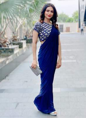 Lovely Blue Color Party Wear Georgette Base Designer