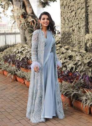 Attractive Sky blue color jacket style georgette base party wear