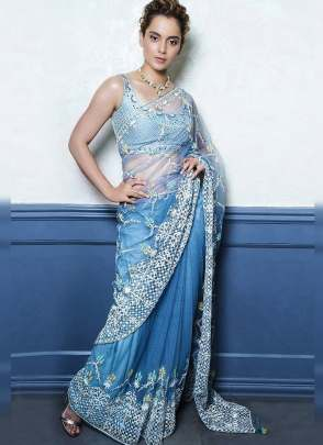 Alluring Sky Blue Resham And Soft Net Fabric Bollywood