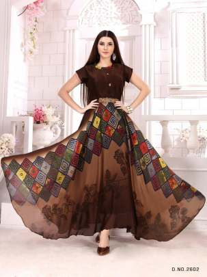 BROWN SEEJIGEORGETTE DIGITAL PRINTED