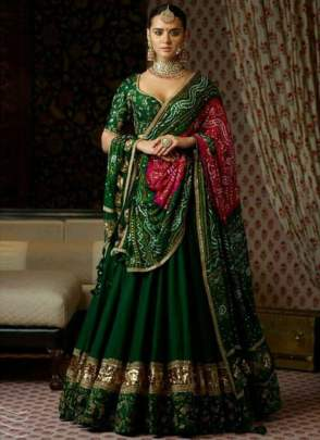 Lovely  Banglory Silk Dark Green Embroidery