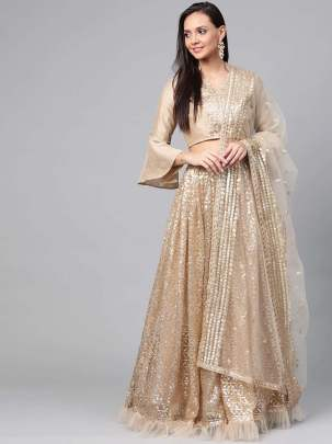 Golden color Semi-Stitched Lehenga & Unstitched Blouse with Dupatta