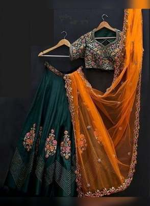 Bottle Green Color Banglory Silk Designer