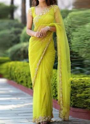 Graceful Neon Green Zari Work and Soft Net Embroidered Saree