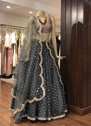 Stylish Grey Color Heavy Sequins Work Elegant Designer