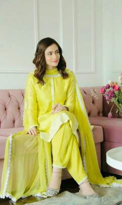 LEMON GREEN STYLISH CHANDERI