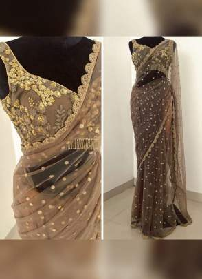 Colorful Light Brown Color Soft Net Base Wedding Wear