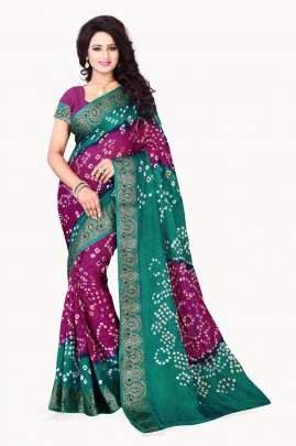MAGENTA-BOTTLE GREEN ART SILK BANDHNI