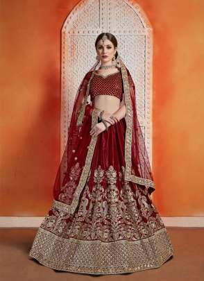 Graceful Maroon Color Velvet Heavy Embroidered